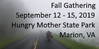 2019 Fall Gathering - September 12 - 15, Hungry Mother State Park, Marion, VA